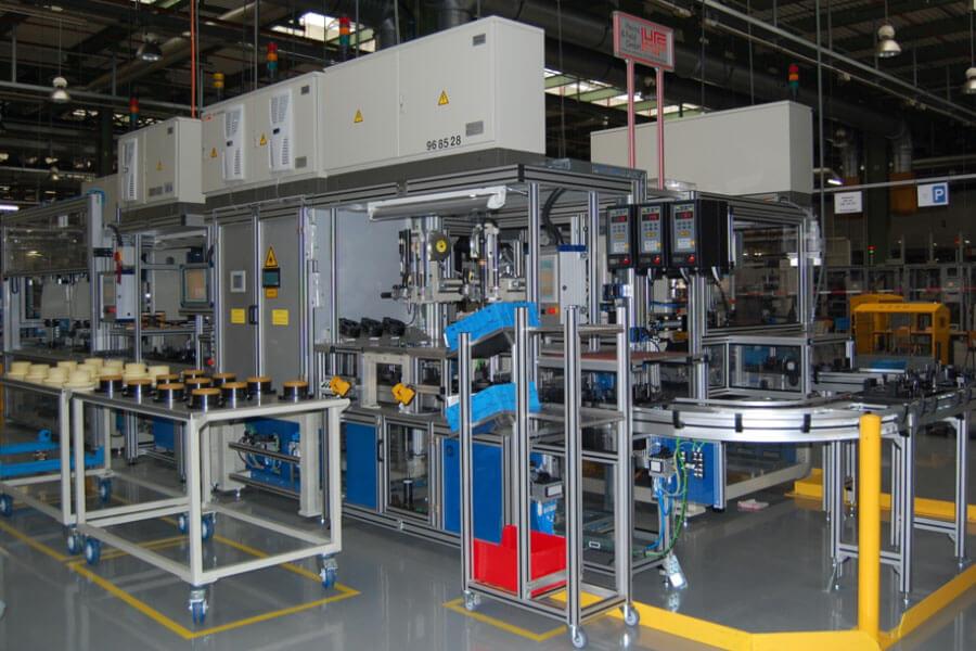 Montagelinie für eine Hydraulikpumpe